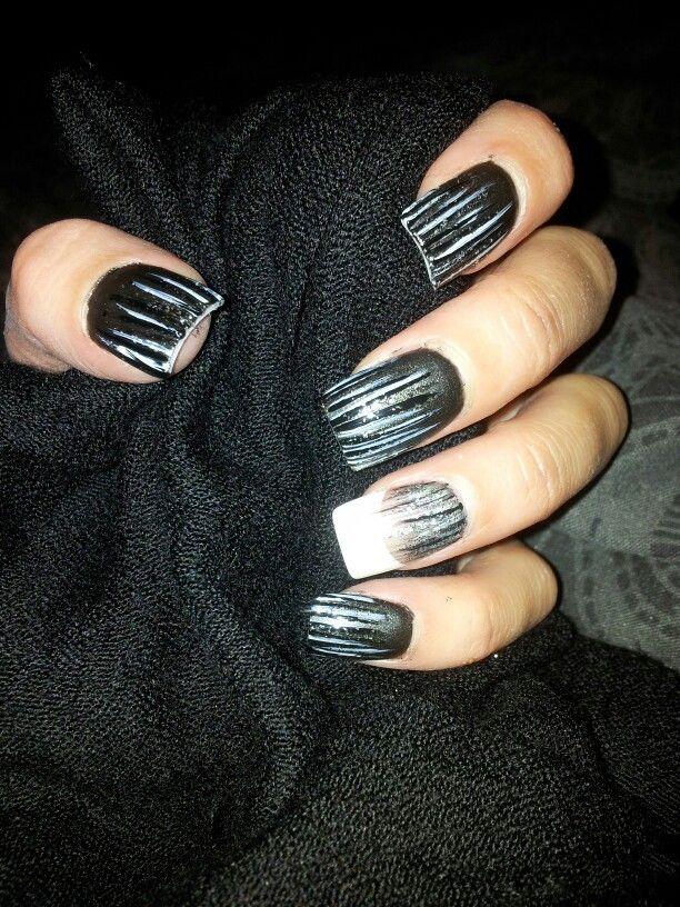 Waterfall nail art. Matt black base varnish. White, black and silver ...