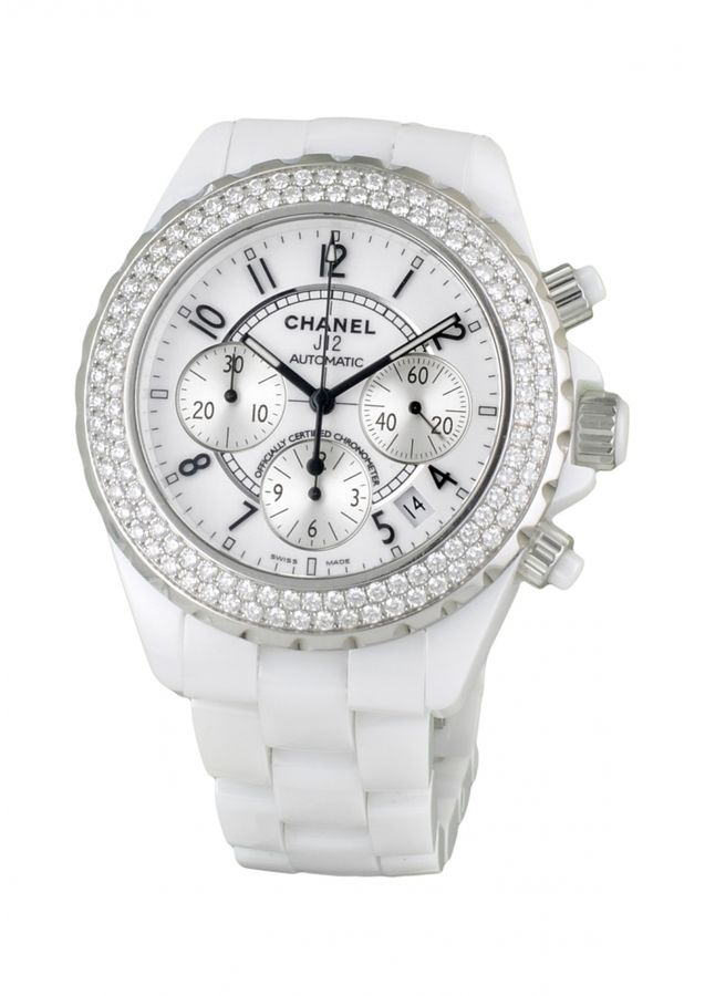 CHANEL Watch J12 Blanche Chronographe Diamants