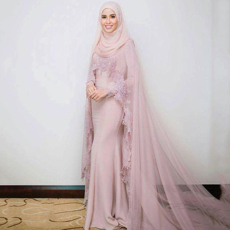 Modern Dusty Pink Muslim Evening Dress Long Sleeves With Floor ...