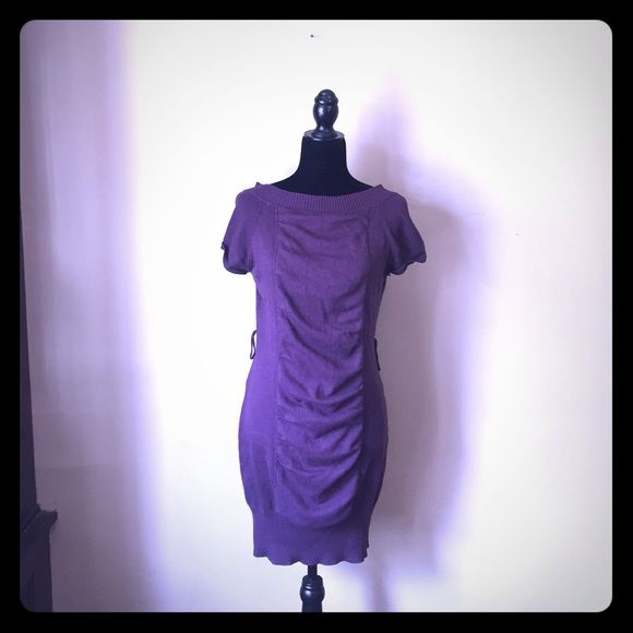 Purple Sweater Dress Beautiful plum sweater dress with loops for a waist belt and banded bottom for slim fit Dots Dresses Midi