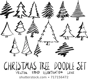 Tree Sketch Images Stock Photos Vectors Shutterstock In 2020 Tree Doodle Hand Drawn Christmas Cards Tree Illustration