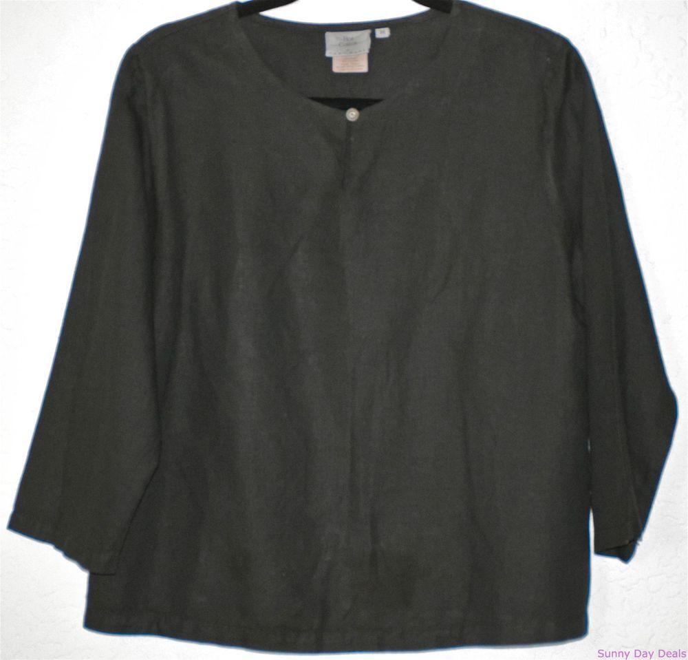 HOT COTTON Blouse Linen Tunic Black Boho 3/4 Sleeves Solid Marc Ware Shirt Top M #HotCotton #Blouse #Versatile