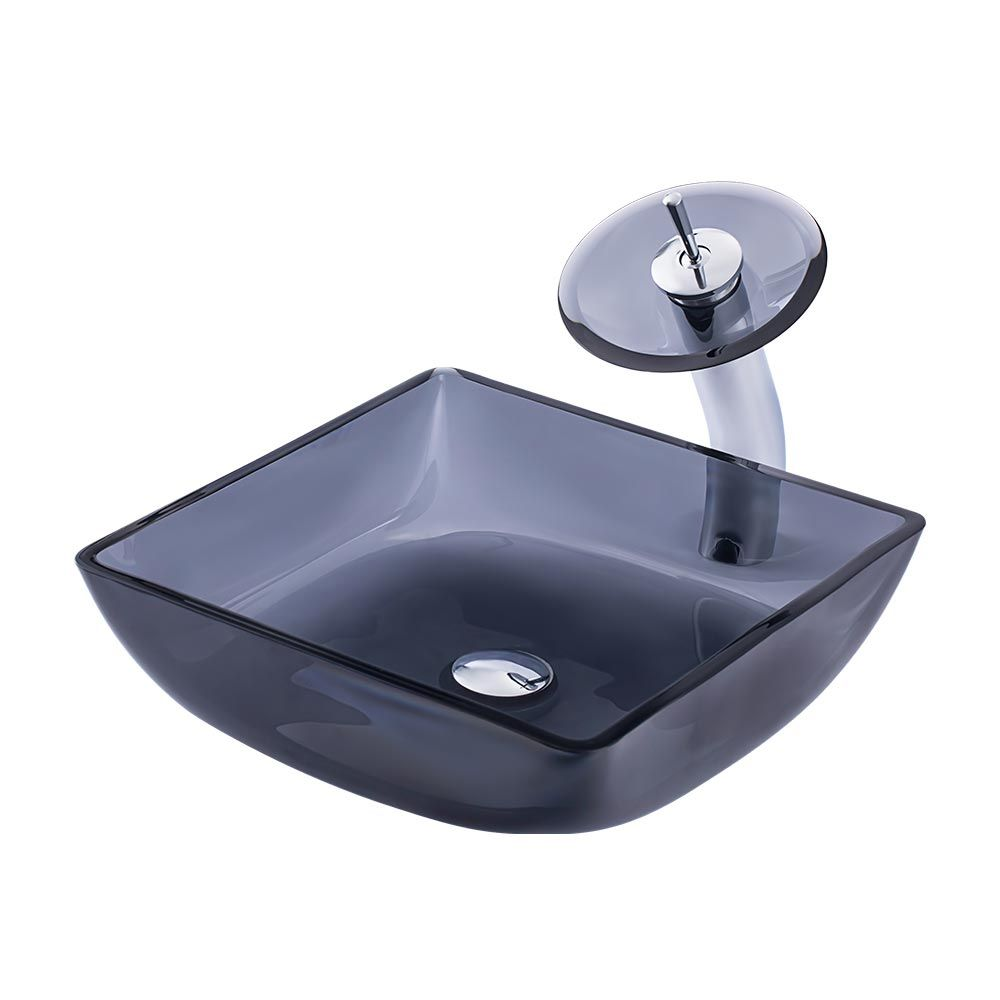Glas Waschbecken Set Eckig Design Mit Wasserfall Armatur In Grau