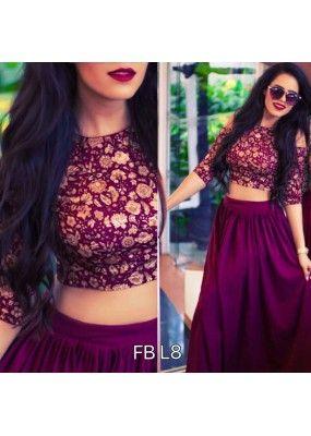 bee1738f49c782 Bollywood Replica - Party Wear Dark Purple Crop Top Lehenga - FB-L8 ...