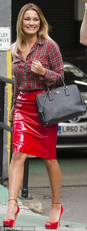 Sam Faiers arrives at ITV studios in sexy PVC pencil skirt ...