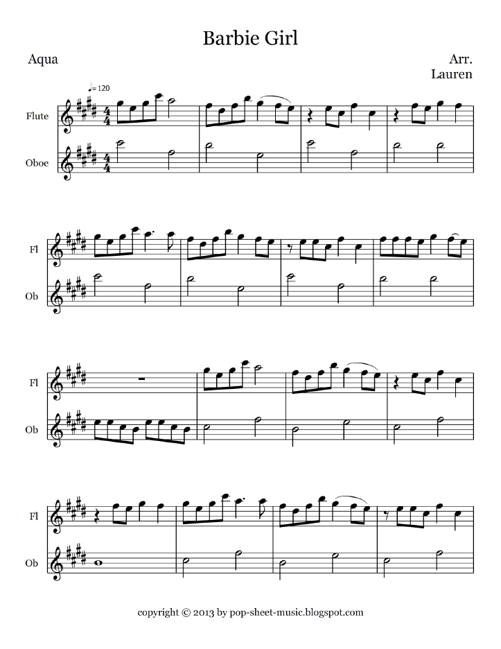 Sheet music free for oboe barbie girl aqua flute and for Most famous house songs