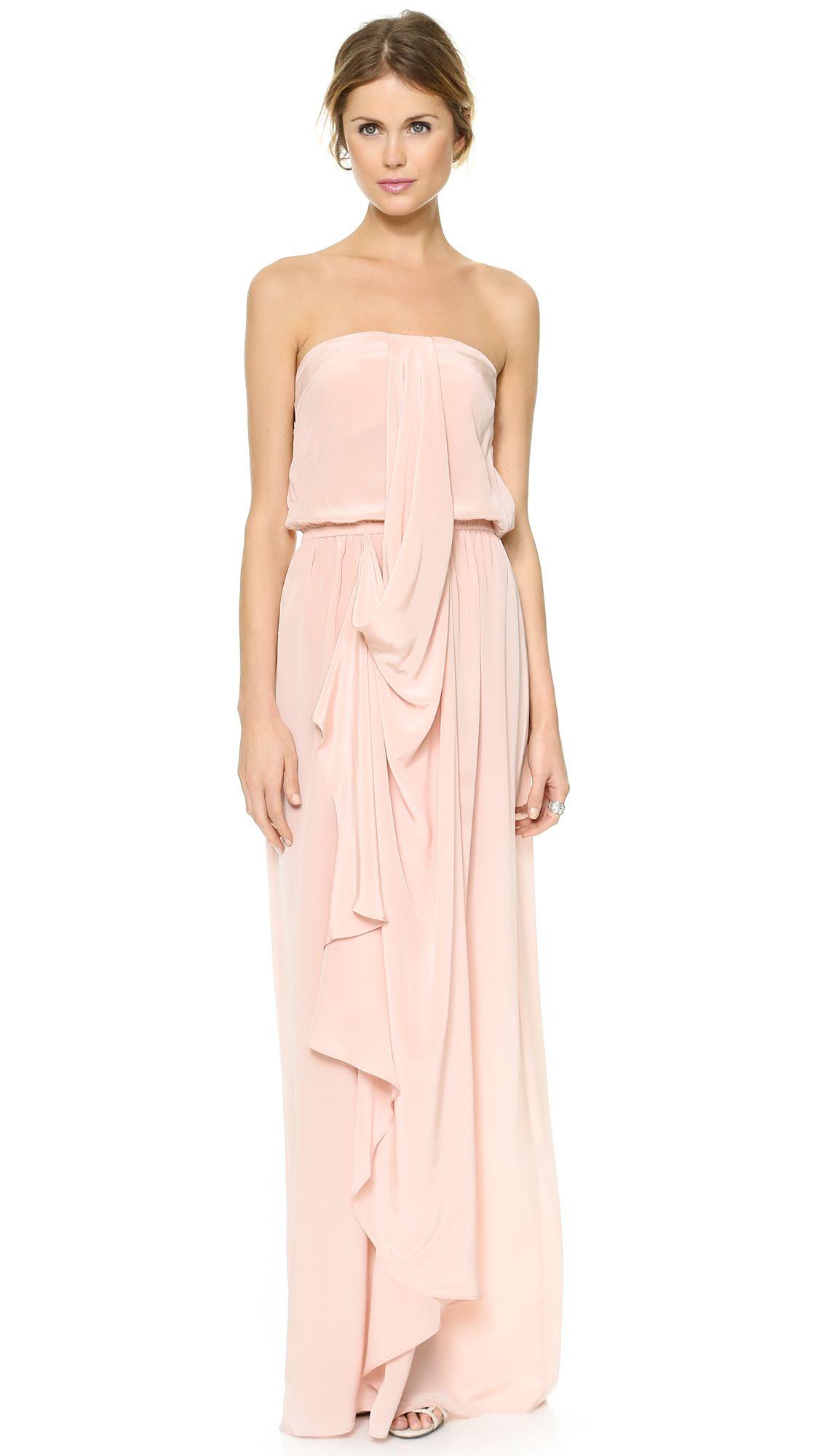 Strapless Draped Maxi Dress