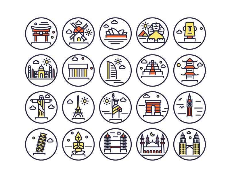 Landmarks Line Icons Copy