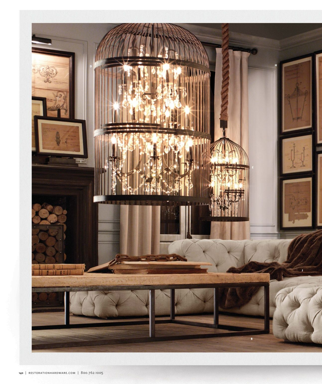 Love these chandeliers by Restoration Hardware