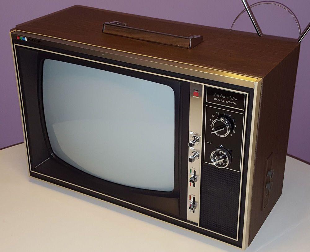 Hitachi Vintage Television Set Csu 690 Large 16 Tv Retro Walnut Cabinet Hitachi Television Set Vintage Television Television