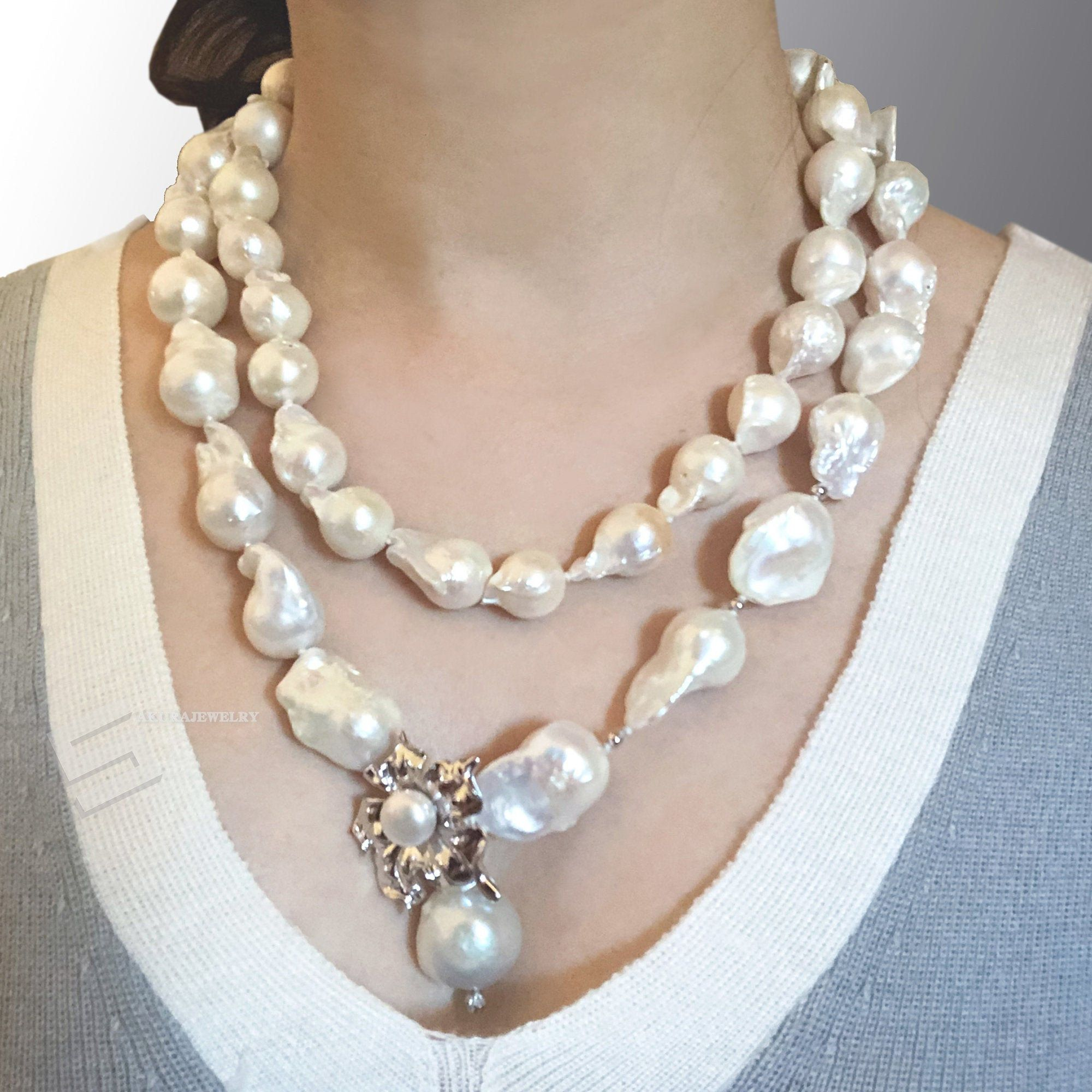 Natural Fresh Water Pearl White Color Necklace Sterling Silver Clasp For Women Fashion Wear and All Occasions Perfect for Gifts AAAA Quality