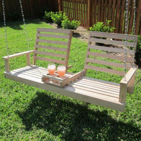 Beecham Swing Co 5ft Drink Holder Console Oak Porch Swing - jardines con bancas