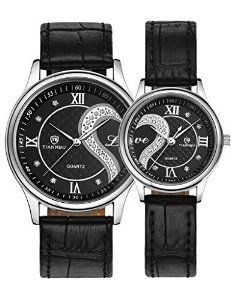 Watches Men And Women Best Gift For Wedding Anniversary His Her Black Leather Bands Watch Set