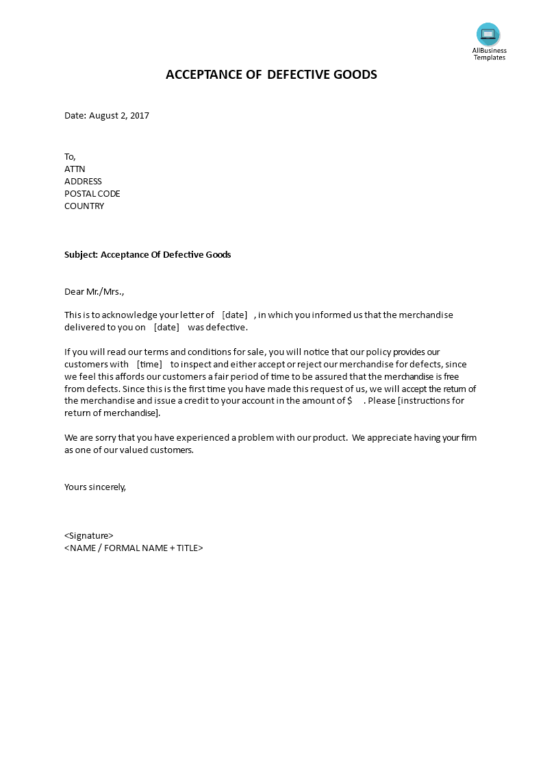 Acceptance Of Defective Goods  Letter Accepting Return Of