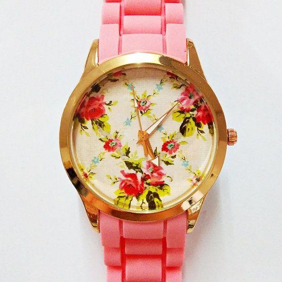 Prettier in Pink Floral Watch, Women Watches, Fashion Watch