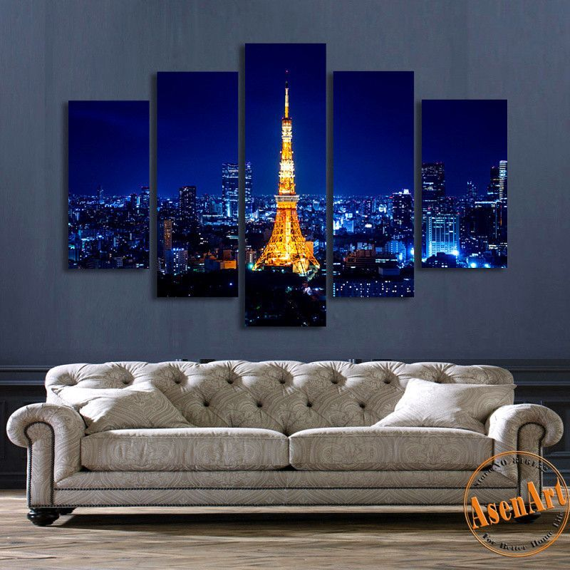5 Panel Wall Art Tokyo Tower Night Landscape Painting Canvas