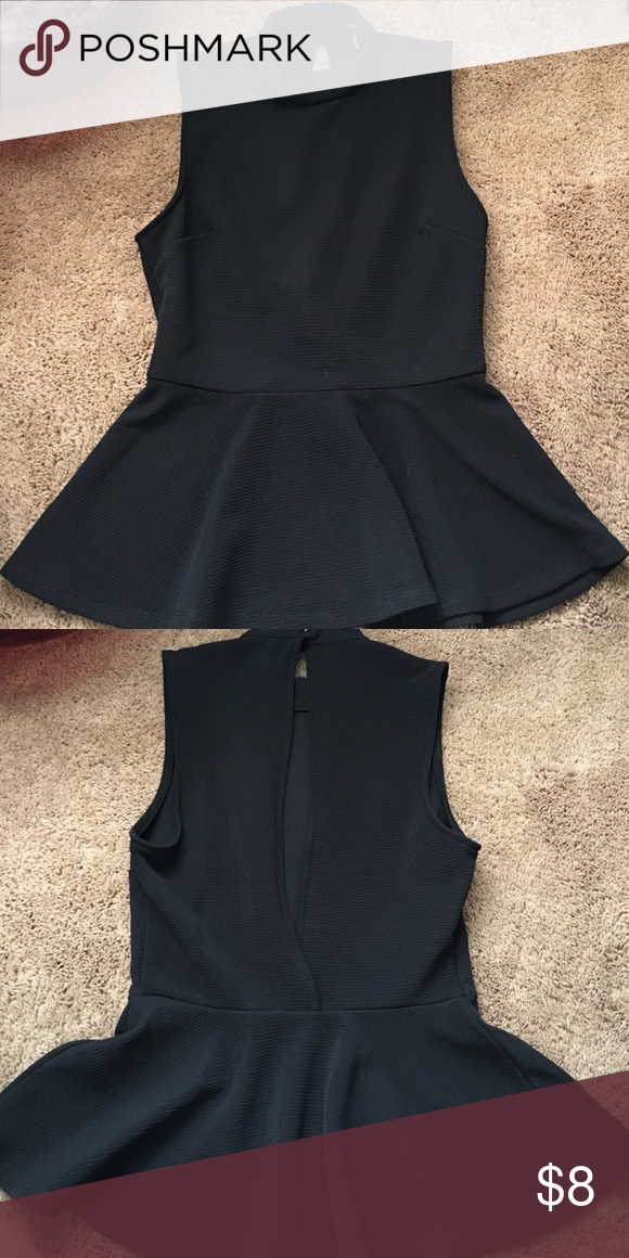Black Open Back Peplum Top Very unique black peplum top with an open back. Two buttons that connect the back around the neck. Forever 21 Tops