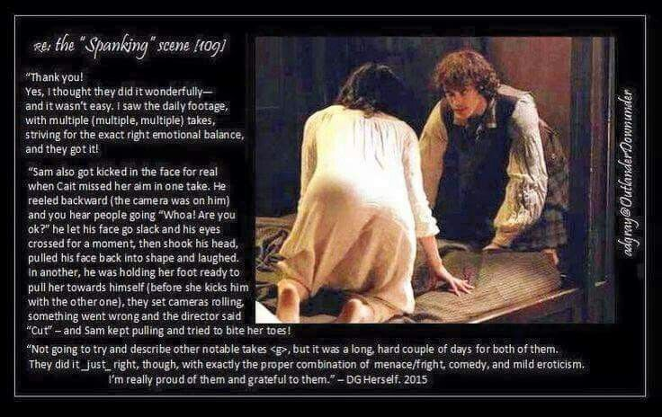 THE RECKONING ~ Rehearsing the spanking scene, Outlander