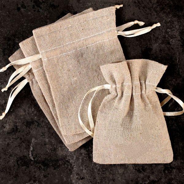 Mini Linen Burlap Drawstring Bags (Set of 12)