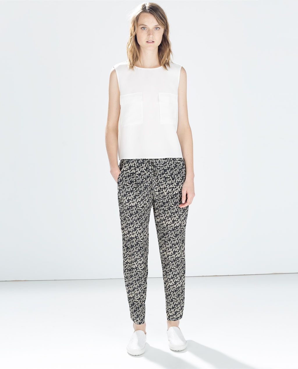 Zara Pantalón Fluido Pijamero Mujer Señorial Estampado rvq1rHa
