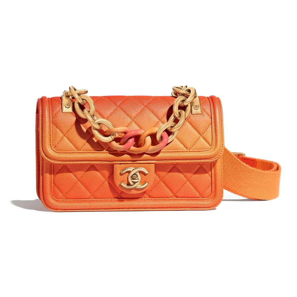 20e3d4792d4f Chanel-Chain-Detail-Flap-Bag-Orange | Bags in 2019 | Bags, Orange ...