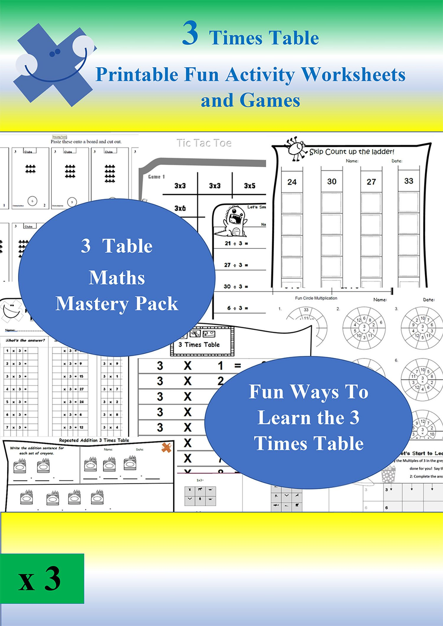3 Times Table Maths Worksheets Games Printable Instant