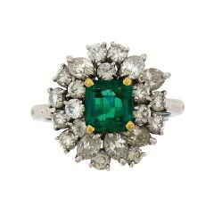 AARON FABER - Emerald and Diamond Cocktail Ring