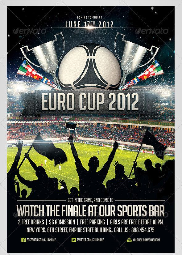 Euro Soccer Flyer Design Graphic Pinterest Flyer Template And
