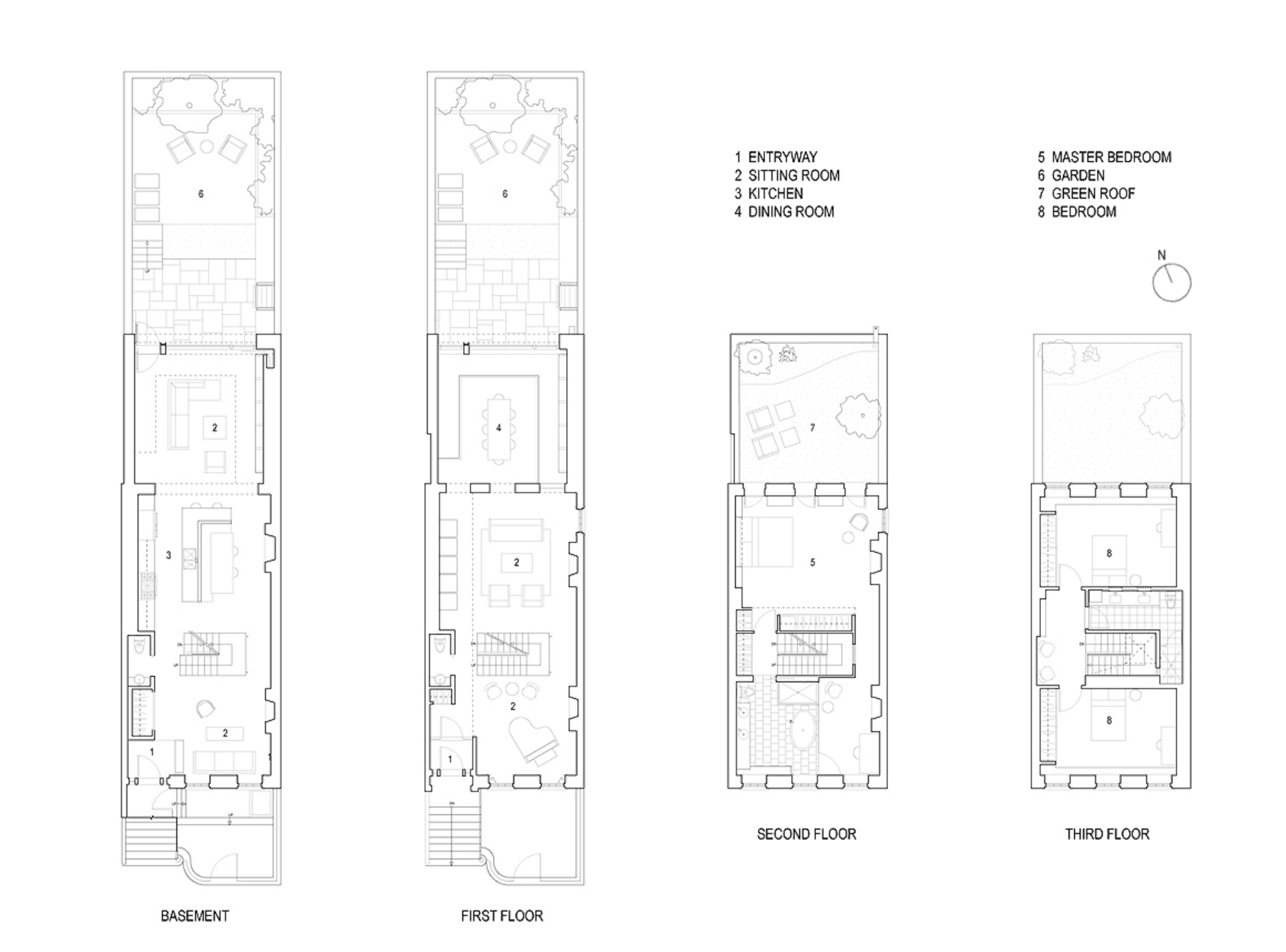 Carroll townhomes floor plans for Stacked townhouse floor plans