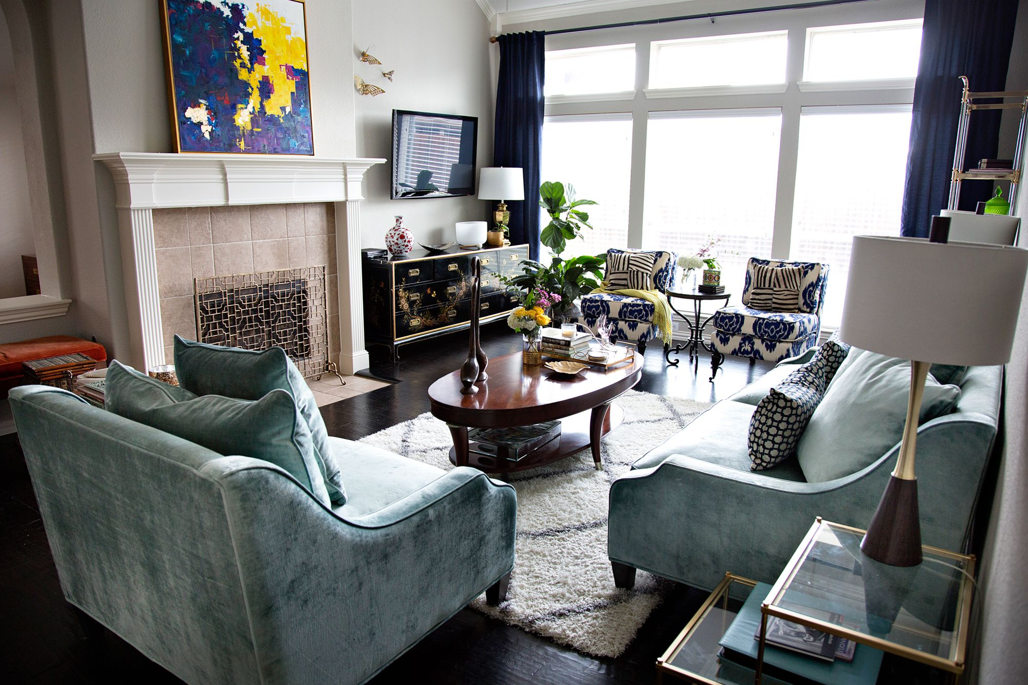 Room Monochromatic Blue Living