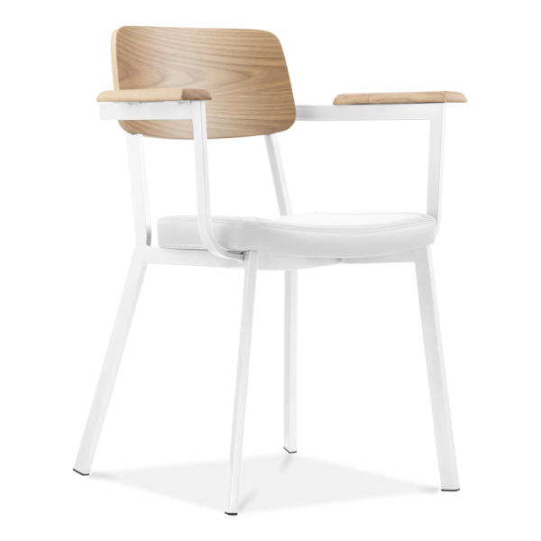 Fauteuil Hipster Design Blanc avec Si¨ge en Faux Cuir Blanc