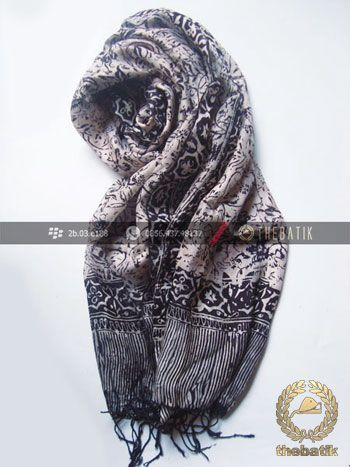Shawl Corak Batik Sutera Warna Hitam Putih Indonesia Scarves Whole