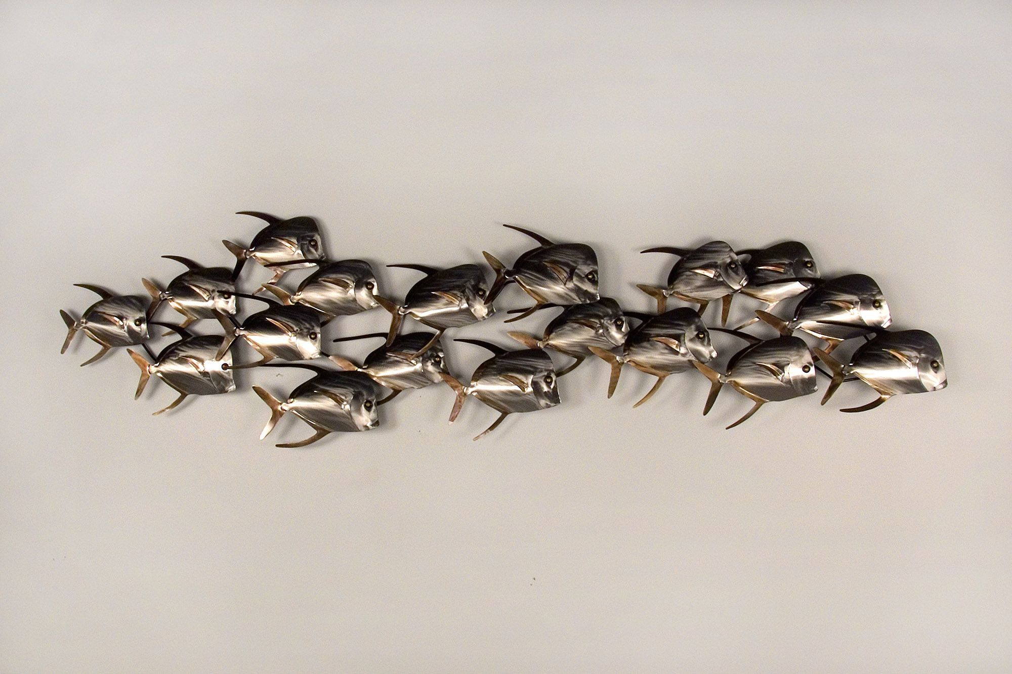 stainless steel metal fish wall art from