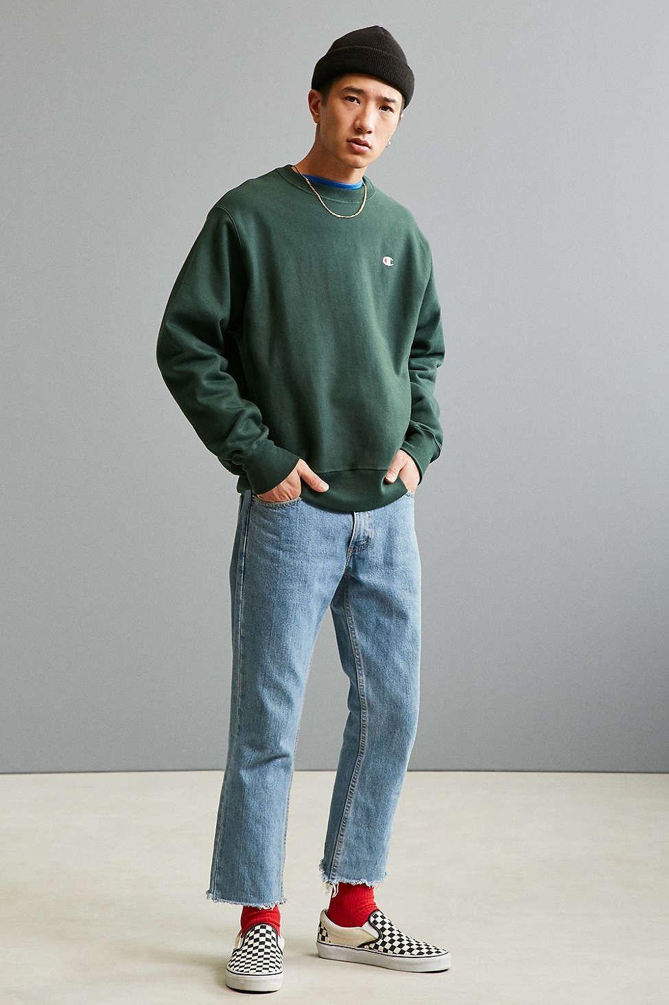 champion reverse weave fleece crew neck sweatshirt crew