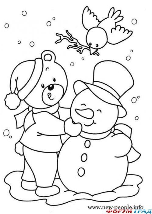Kleurplaat Sneeuw Kleuters Raskraska Zima Winter Kerst