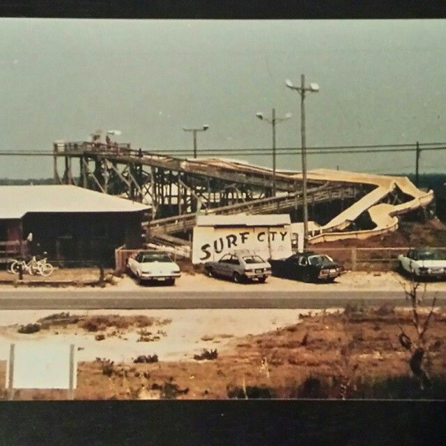 The Surf City Water Slide In The Mid 1980 S Built In 1978 Destroyed By Hurricane Fran In 1996 Surf City Nc Topsail Island Surf City Surf City