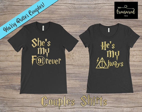 a3e66ccb *CUSTOM HARRY POTTER COUPLE SHIRTS!* When ordering - place order for EACH  shirt separately (just add both to your cart!) Dont forget to include Vinyl  Colors ...