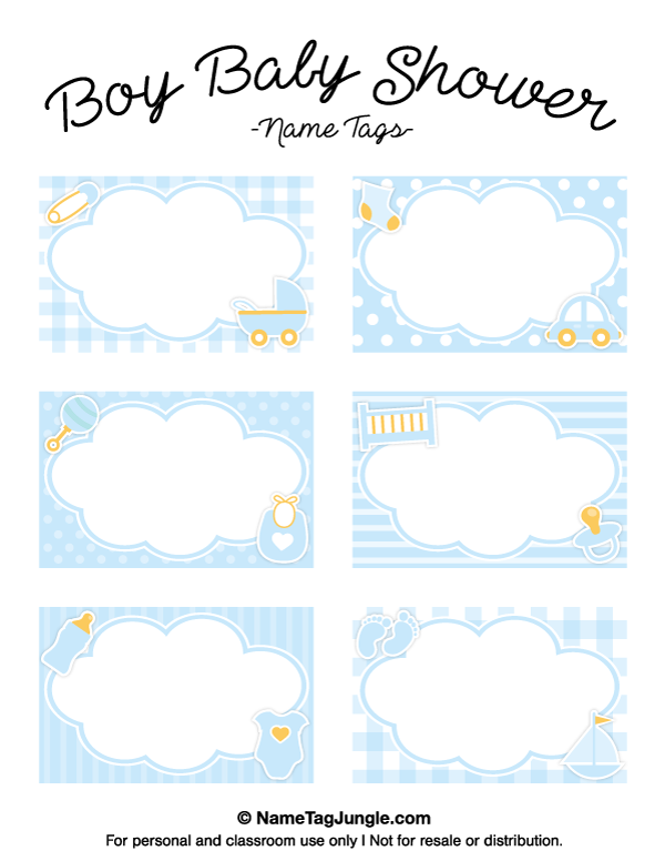 Free Printable Boy Baby Shower Name Tags The Template Can Also Be Used For Creating Items Like La Baby Boy Shower Baby Shower Labels Baby Shower Souvenirs Boy