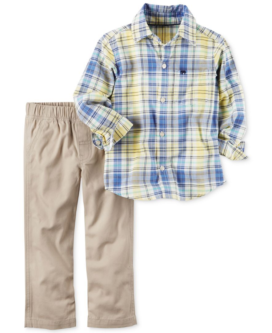 cbba8cc9b Carter s 2-Pc. Plaid Cotton Shirt   Pants Set