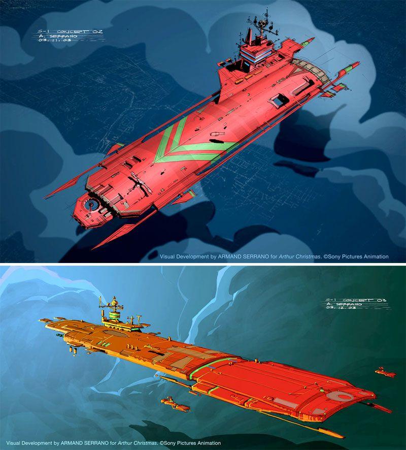 Mais Arthur Christmas Por Armand Serrano Thecab The Concept Art Blog Sci Fi Concept Art Scifi Artwork Starship Concept