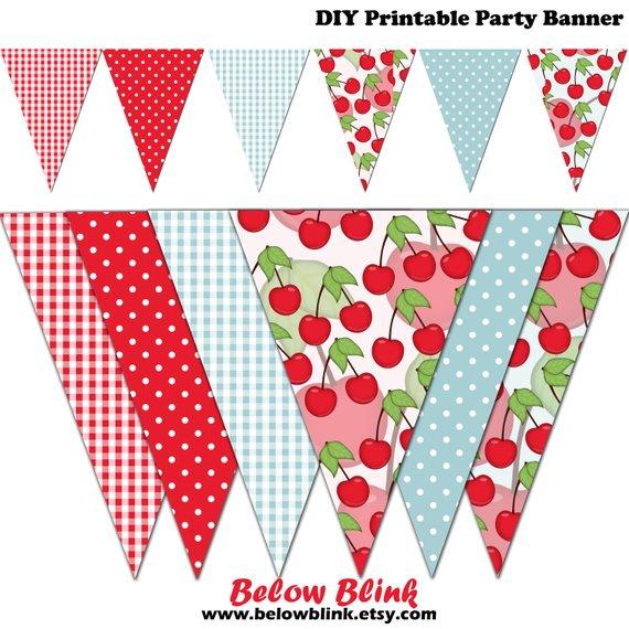 Sweet Cherry Banner, Printable Banner, Cherry Birthday Party Pennant