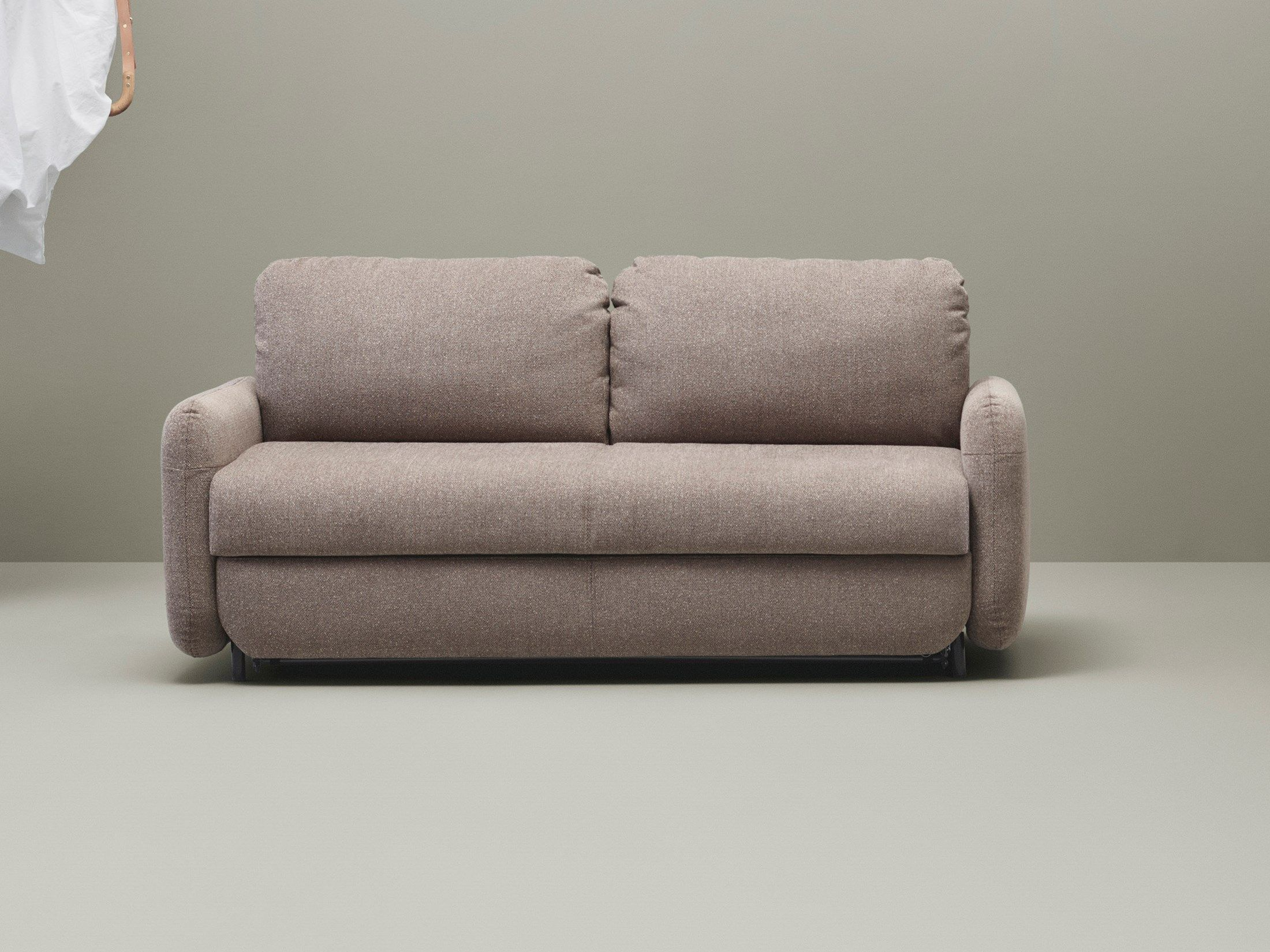 Fluffy 2 Sitzer Schlafcouch Fawn Stoff Antracit Schlafcouch