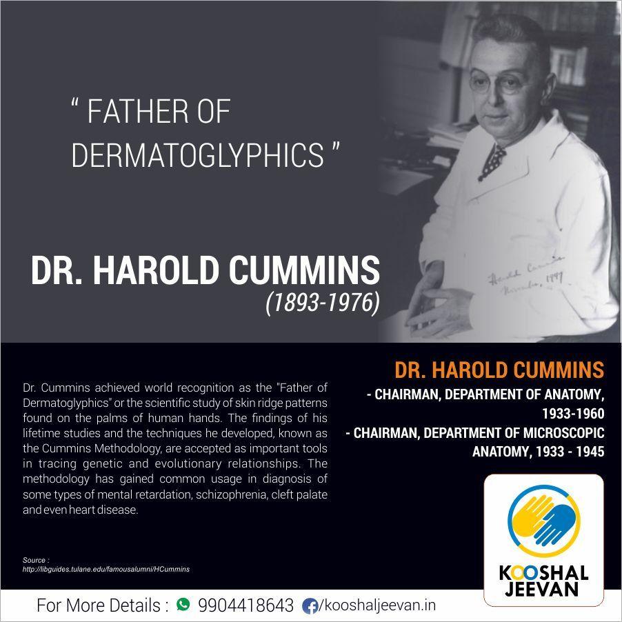 Dr Harold Cummins 1893 1976 Father Of Dermatoglyphics