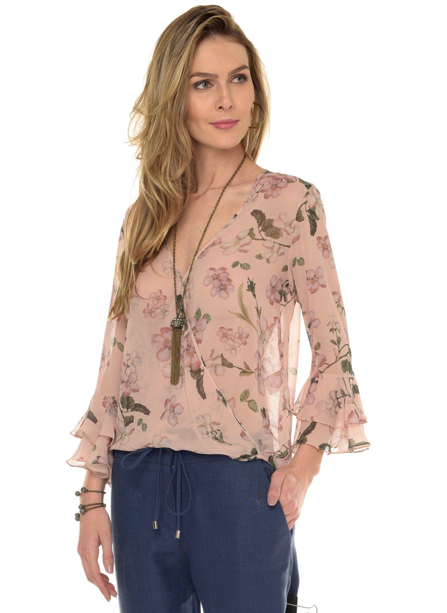 4057db2ad9df Blusa Teodora Seda - lelis | Blusas e camisetas | Blusas floridas ...