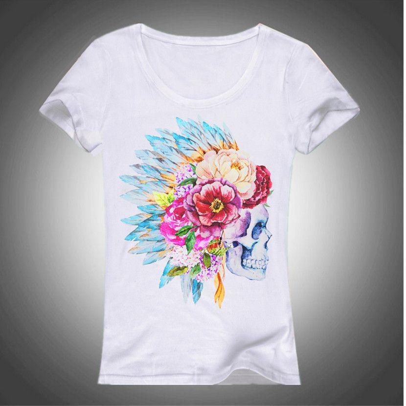 3D Skull Moths T-Shirt Summer Women Lovely Summer Cool Shirt Good Quality Comfortable Cotton Tops Good Quality