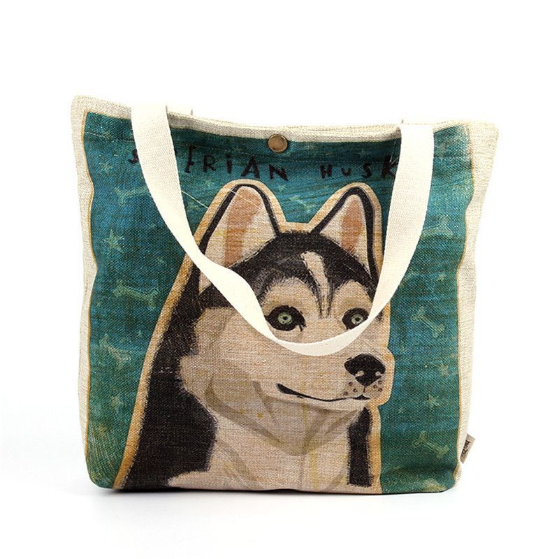 Owl Dog Husky Eco-Friendly Reusable Heavy Duty Cotton DIY Crafts Carry-All Tote Bag Lunch & Grocery Shopping Beach Bag Handbag