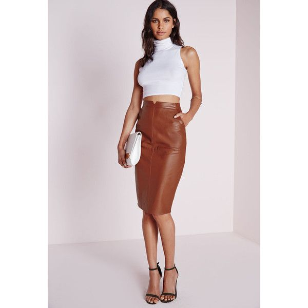 Missguided Faux Leather Midi Skirt Tan ($50) ❤ liked on Polyvore