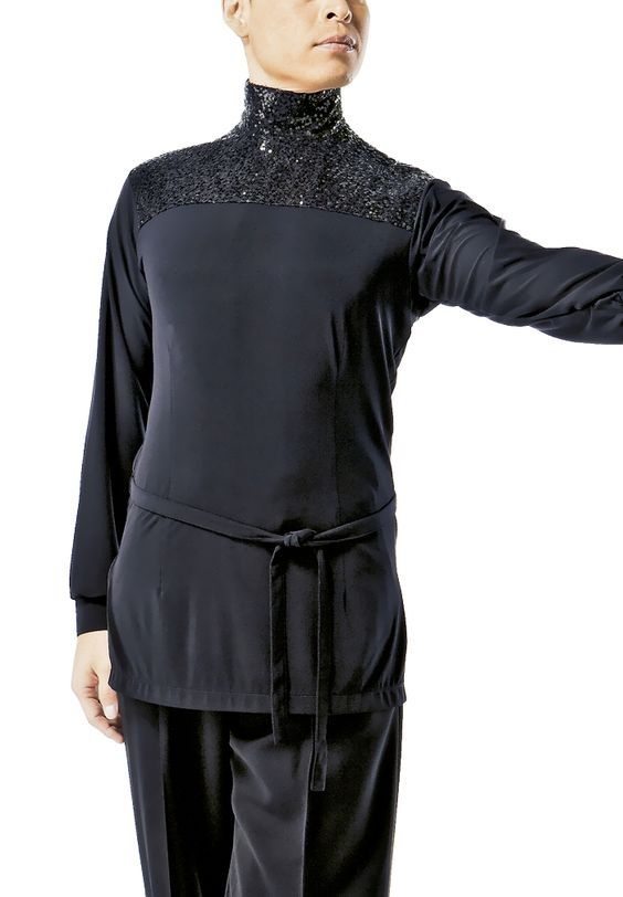 d3dde25bc Taka Mens Sequined Neck Latin Shirt MS234 | Dancesport Fashion @  DanceShopper.com