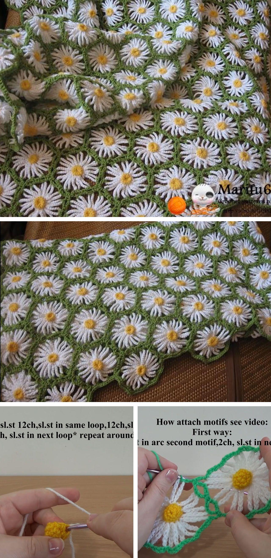 Daisy crochet flower blanket tutorial crochetbeja this crochet flower blanket with daisy motif is wonderful using its gorgeous pattern you can make this crochet flower blanket in just a few hours izmirmasajfo