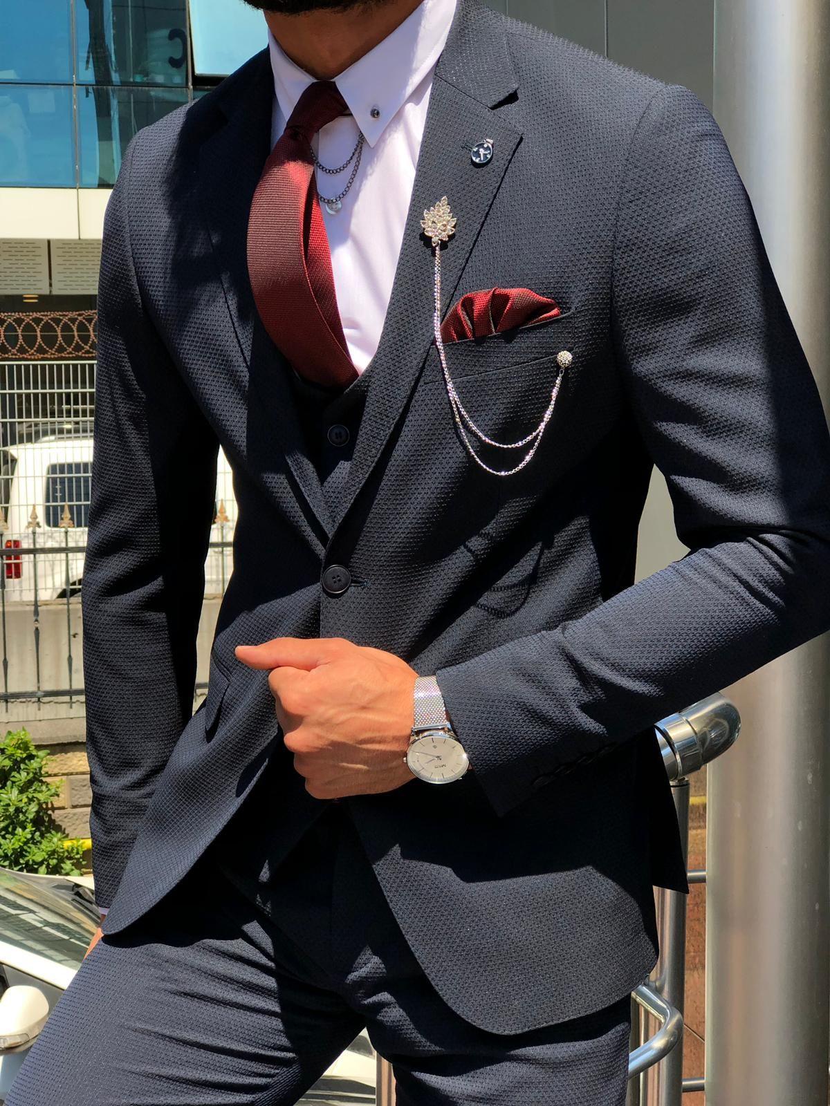 GentWith Leopard Dark Blue Slim Fit Suit #men'ssuits